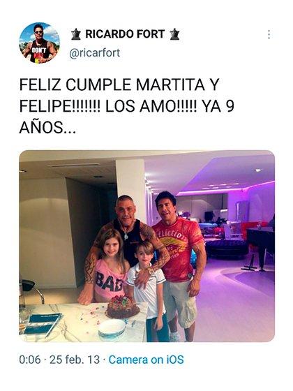 El último saludo de cumpleaños de Ricardo Fort a sus hijos Felipe y Martita