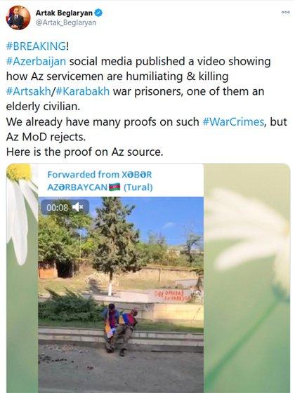 El tuit de Artak Beglaryan