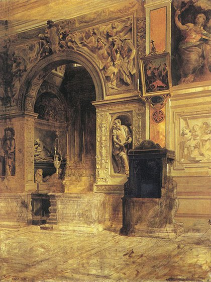 """""""Santa María de la Paz"""", 1898. Óleo sobre tela, 112 x 86 cm, en Museo PíoCollivadino"""