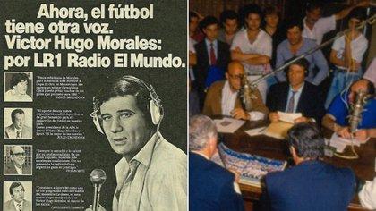 El afiche que anuncia la llegada de Víctor Hugo y la histórica mesa de Sport 80 (foto en la radio: @sebalacunza)