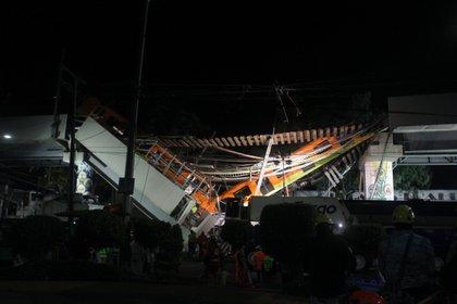 Estación Olivo de la línea 12 del Sistema de Transporte Colectivo Metro tras presentar un colapso. Ciudad de México, mayo 4, 2021.Foto: Karina Hernández/Infobae