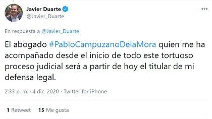 Javier Duarte informó a través de Twitter el cambio en su defensa legal (Foto: Twitter/@Javier_Duarte)