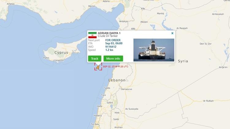 La última posición oficial declarada por el mismo Adrian Darya 1, poco antes de entrar en aguas territoriales sirias (MarineVesselTraffic)