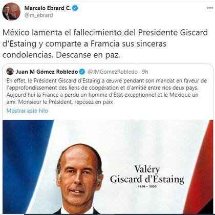 La canciller lamentó la muerte del expresidente de Francia (Foto: Twitter / @ m_ebrard)