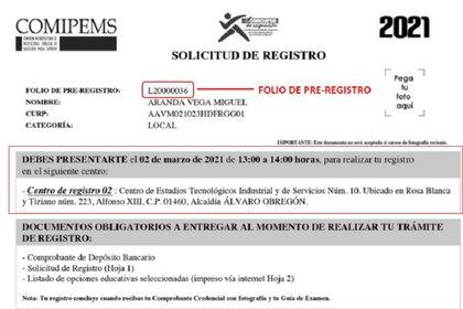 """En la """"Solicitud de Registro"""" podrás comprobar el centro que te asignaron para registrarte al examen, así como la fecha y la hora (Foto: Sitio web Comipems)"""