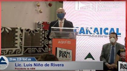 El presidente de la ABM, Luis Niño de Rivera, participó en el arranque del Buen Fin 2020 (Foto: Captura de pantalla)