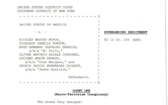 Documento de imputación de cargos a Iván Márquez y Jesús Santrich. (Department of Justice)