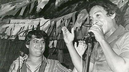 Los cantantes de vallenato Jorge Oñate y Diomedes Díaz.