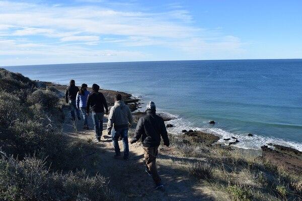 Luego de un breve trekking, los turistas pueden observar a las ballenas desde la costa