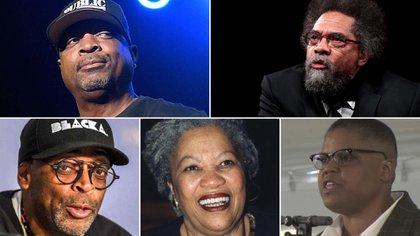 Arriba: Chuck D y  Cornel West. Abajo: Spike Lee, Toni Morrison y Keeanga-Yamahtta Taylor