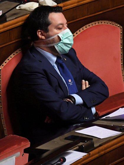 Salvini en el parlamento italiano (REUTERS/Alberto Lingria)
