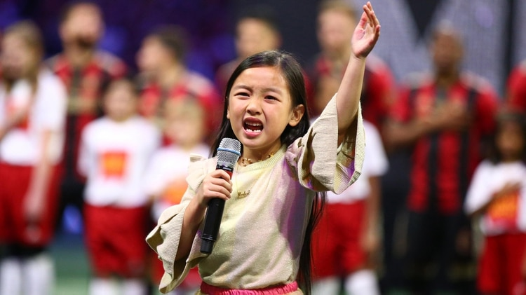Malea Emma sorprendió con su interpretación del Himno de Estados Unidos (USA TODAY Sports)