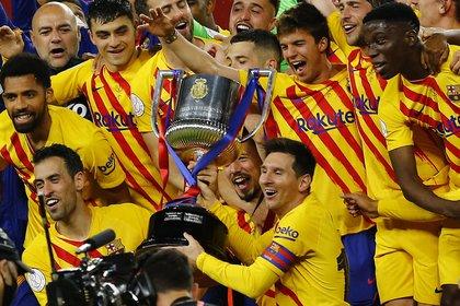 Lionel Messi se consagró campeón de la Copa del Rey con el Barcelona (REUTERS/Marcelo Del Pozo)