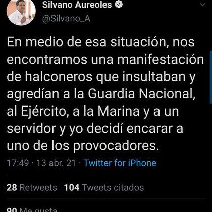"""El mandatario afirmó, mediante su cuenta oficial de Twitter que, durante la manifestación, hubo """"halconeros"""" que insultaron a la Guardia Nacional (Foto: Twitter/ @Silvano_A)"""
