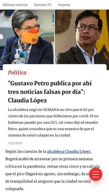 Reacción de la alcaldesa Claudia López a las 'face news' de Gustavo Petro. Revista Semana.