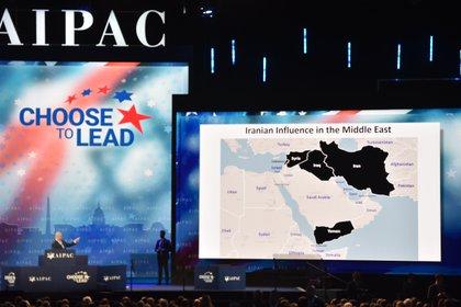 Netanyahu presentó un mapa con las aspiraciones del régimen de Irán (AFP)