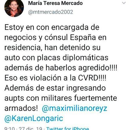 El tuit de María Teresa Mercado que más tarde fue borrado