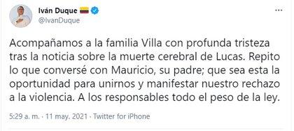 Iván Duque habla de la muerte de Lucas Villa