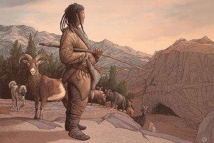 08/04/2021 Representación de un artista de un pastor neolítico en el refugio rocoso de Obishir (POLITICA INVESTIGACIÓN Y TECNOLOGÍA/ ETTORE MAZZA)