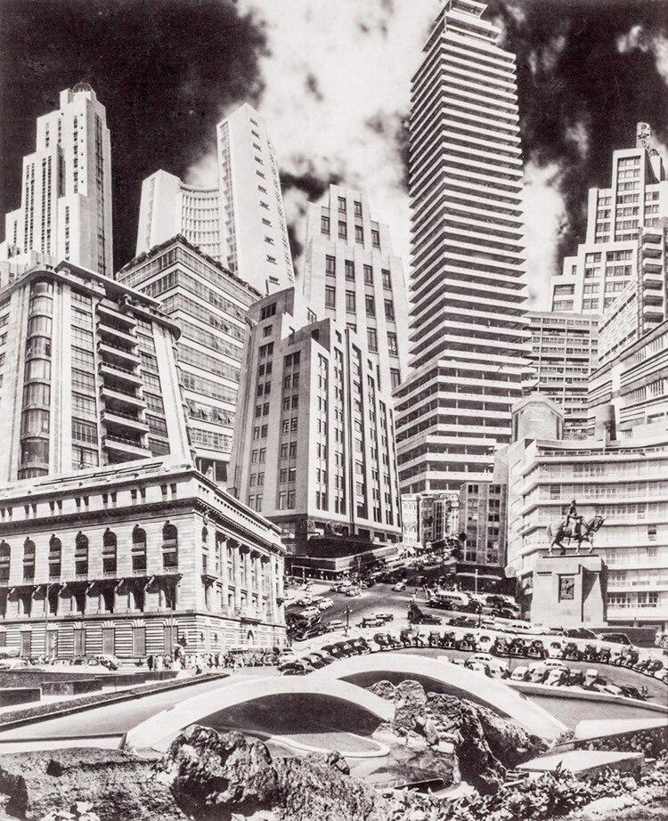 (Fotomontaje: Anarquia arquitectónica de la Ciudad de México/1950)