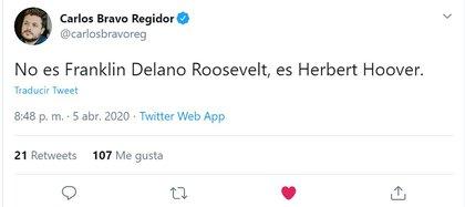 Carlos Bravo (Foto: Twitter/@carlosbravoreg)