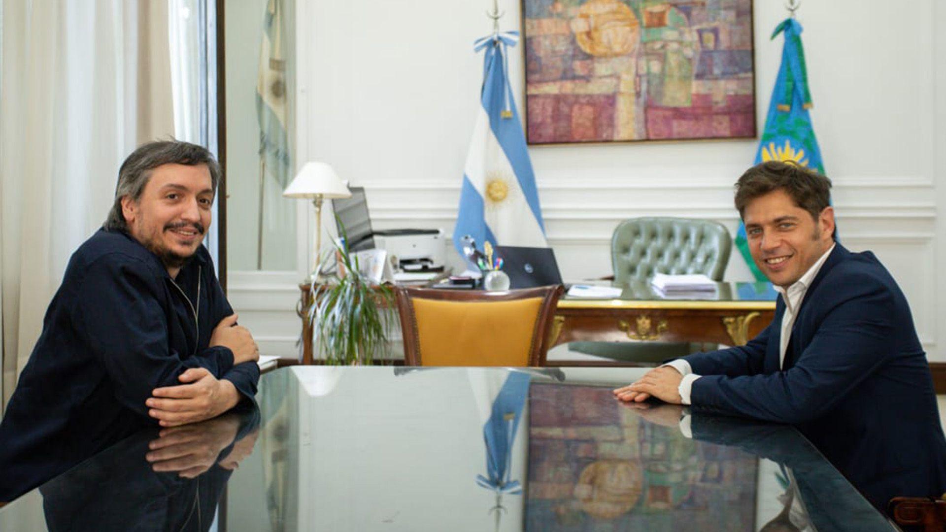 Máximo Kirchner y Axel Kicillof, gobernador de la Provincia de Buenos Aire