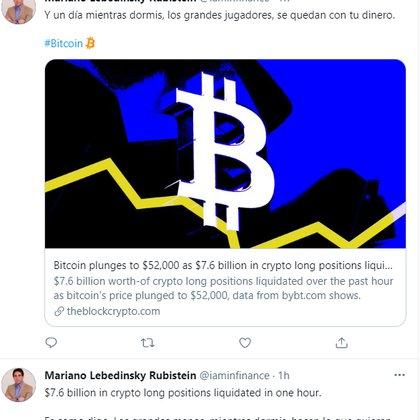 Un par de tuits del analista de Mercados Mariano Lebedinsky