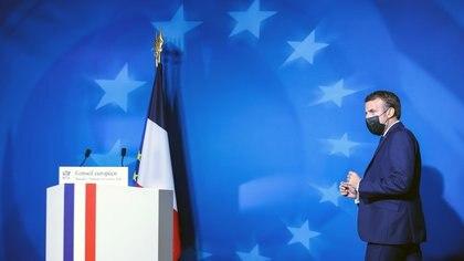 Emmanuel Macron en Bruselas, durante la conferencia de prensa de la cumbre de la Unión Europea