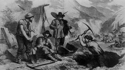 Mexicanos en las minas de California. (Foto: Librería de Congreso de EEUU)