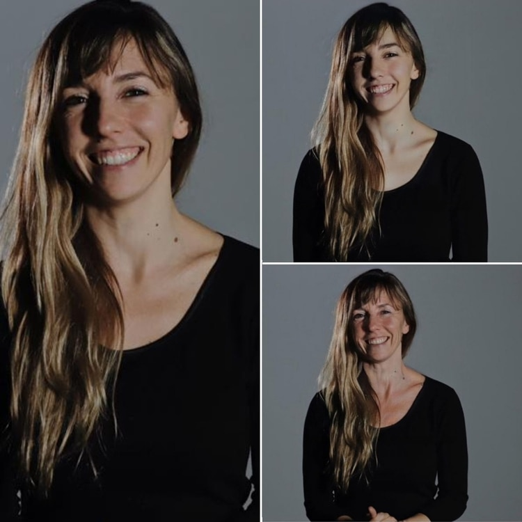 La foto original está a la izquierda; arriba a la derecha hay una versión más joven y debajo, el rostro envejecido