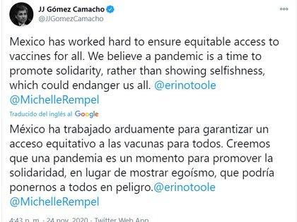 """El embajador Juan José Gómez Camacho señaló en su tuit que """"México ha trabajo mucho para asegurar el acceso equitativo a vacunas para todos. Creemos que la pandemia es un momento para promover solidaridad, en vez de mostrar el egoísmo que podría ponernos a peligro a todos"""". (Foto: Twitter/JJGOMEZCAMACHO)"""