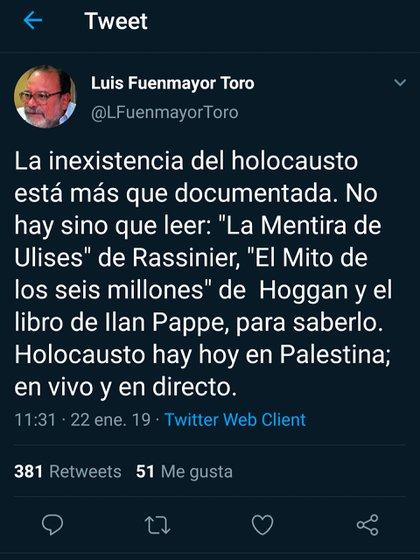 Uno de los mensajes publicados por Luis Fuenmayor Toro, el funcionario designado por la dictadura de Nicolás Maduro para integrar el CNE de Venezuela que niega el Holocausto