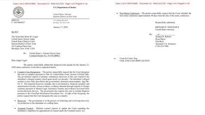 Documento de la Fiscalía de EEUU donde informa al juez Cogan que designe el caso como complejo (Foto: Captura de pantalla)