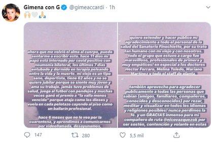 El mensaje de Gimena Accardi en sus redes sociales
