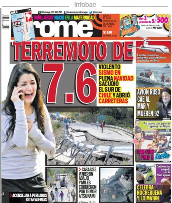 Trome Perú Lunes 26 De Diciembre De 2016 Infobae