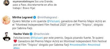El mensaje de Marcela Tinayre, Mirtha Legrand y Nacho Viale por el premio de Juana Viale