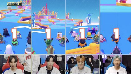 Una imagen adelanto de lo que será la emisión de la banda surcoreana jugando Fall Guys