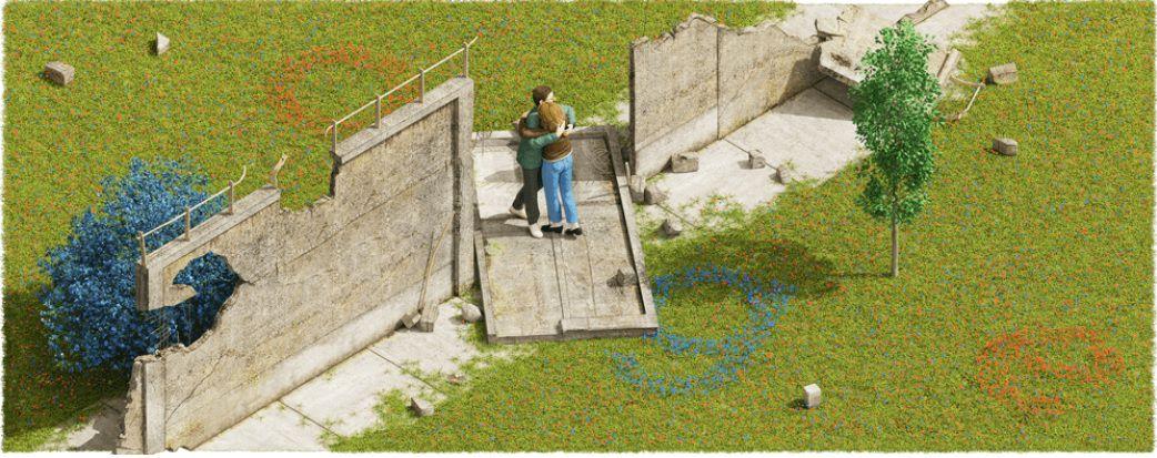 El doodle de Google recuerda los 30 años desde la caída del Muro de Berlín.