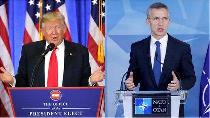 El presidente de EEUU Donald Trump y el secretario general de la OTAN, Jens Stoltenberg