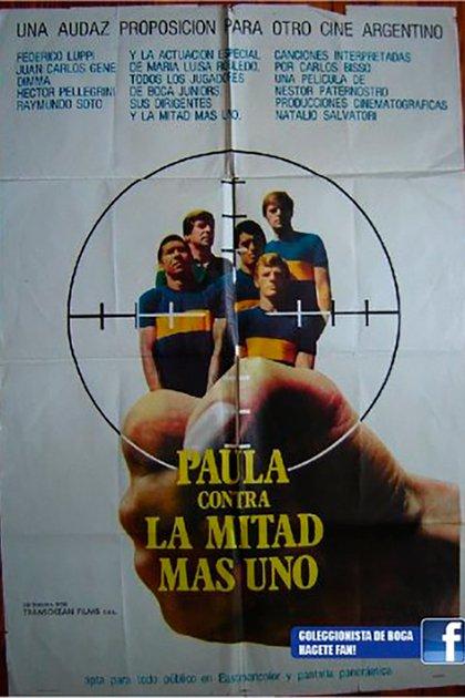 """El filme, """"Paula contra la mitad más uno"""" (gentileza """"coleccionista de Boca"""")"""