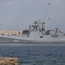 ADDS CLARIFICATION TO INTERFAX NEWS AGENCY IN SECOND SENTENCE - A Russian warship is docked in the Port Sudan, in Port Sudan, Sudan, Sunday, Feb. 28, 2021. The Interfax News Agency cited the press service of the Russian Navy's Black Sea Fleet saying the frigate Admiral Grigorovich arrived at Port Sudan where a naval facility will be established, according to the agreement between Russia and Republic of the Sudan. (AP Photo)