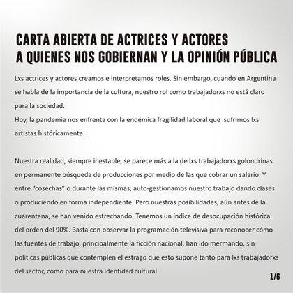 Fragmento de la carta abierta (Foto: Twitter)