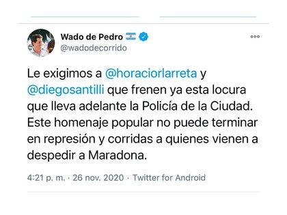 El tuit de Wado De Pedro