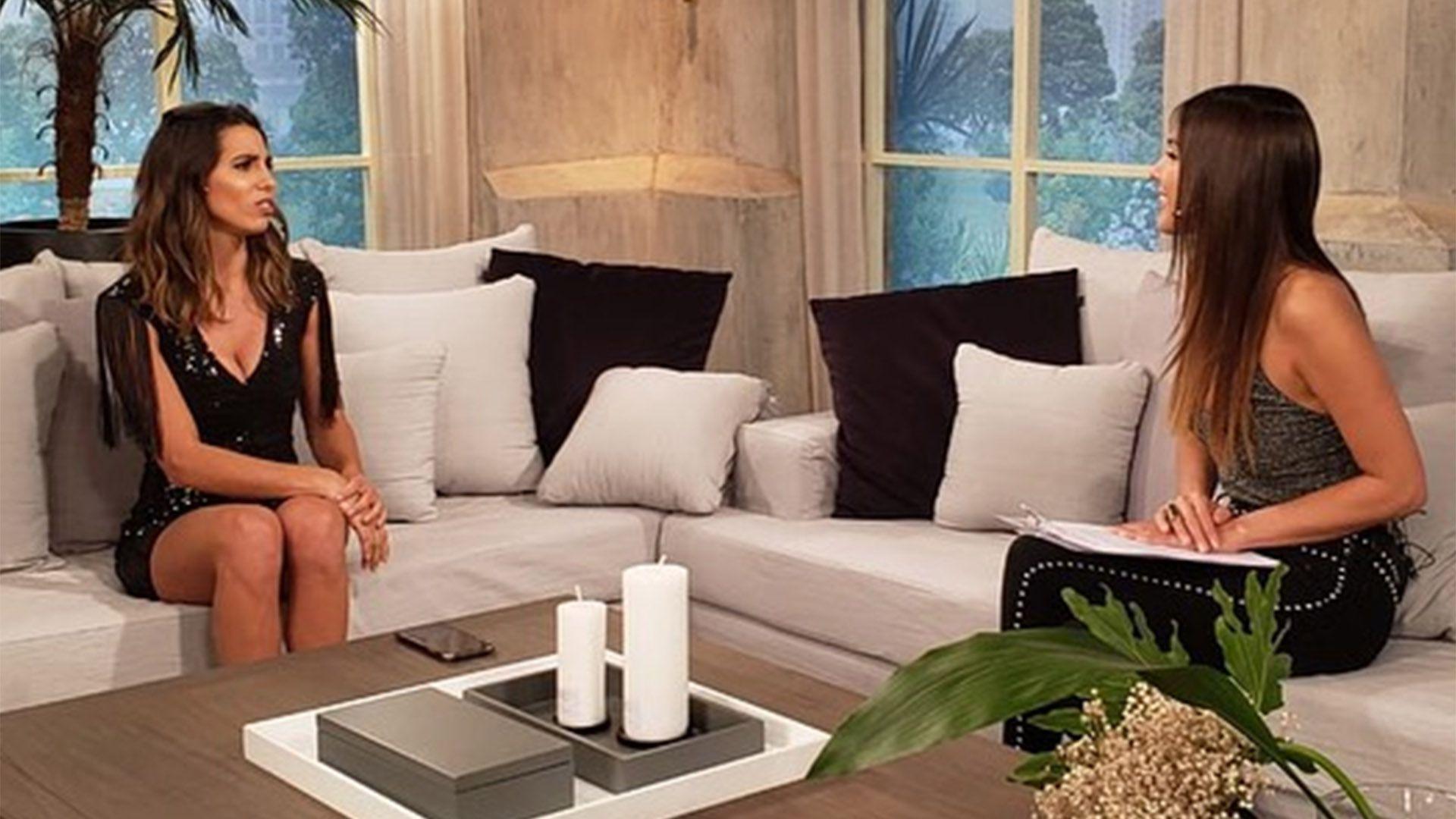 Pampita entrevistando a Cinthia Fernández, en su regreso a la tevé