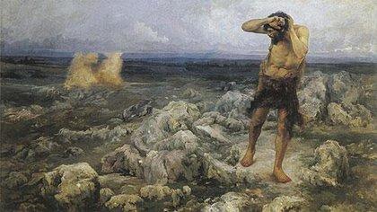 """""""Caín"""", su última obra sobre los """"grandes temas"""", 1898-1900.Óleo sobre tela, 175 x 290 cm, en colección particular"""