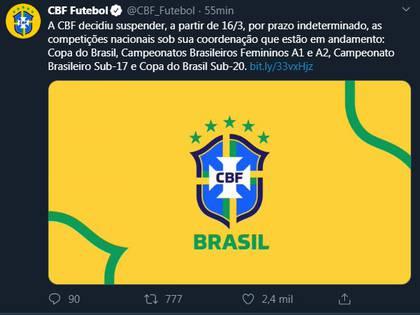 El comunicado de la Confederación Brasileña de Fútbol