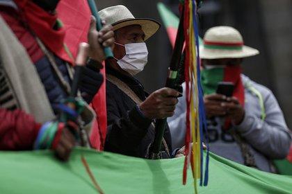 Indígenas del Cauca durante la Gran Marcha Nacional por la vida la dignidad y la paz. Foto: Colprensa - Sergio Acero.