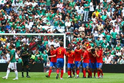 David Silva anotó el gol del empate en aquel partido amistoso en el Estadio Azteca (Foto: Isaac Esquivel/ Cuartoscuro)