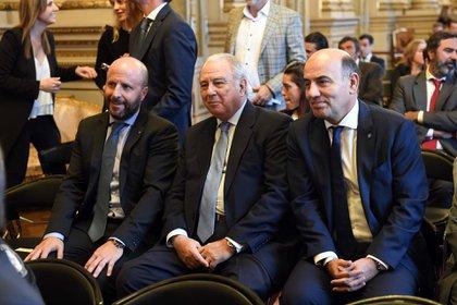El juez Riggi, en el centro de la imagen, junto a Mariano Borinsky y Diego Barroetaveña (Maximiliano Luna)