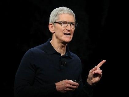 Tim Cook, CEO de Apple, durante la apertura del encuentro(Justin Sullivan/Getty Images/AFP)